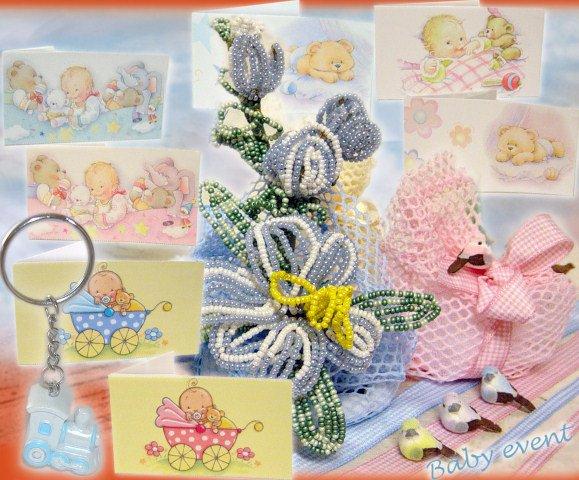 Bomboniera per battesimo e comunione fiori di perline gigli, sacchetti
