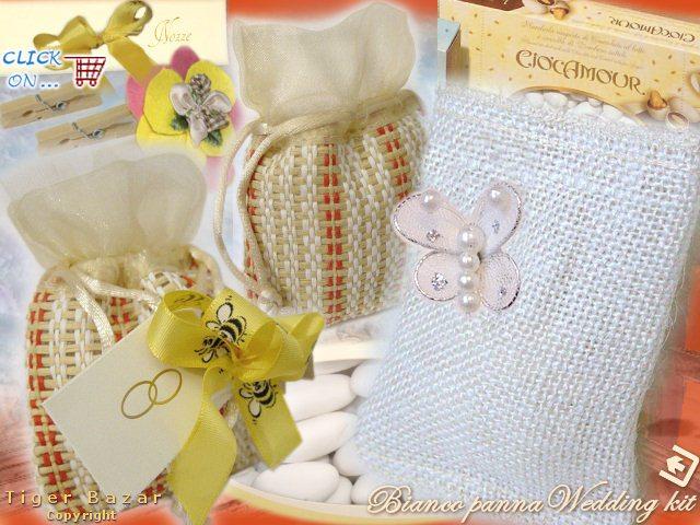 Molto Vendita bomboniere matrimonio sacchetti porta confetti di juta  EZ12