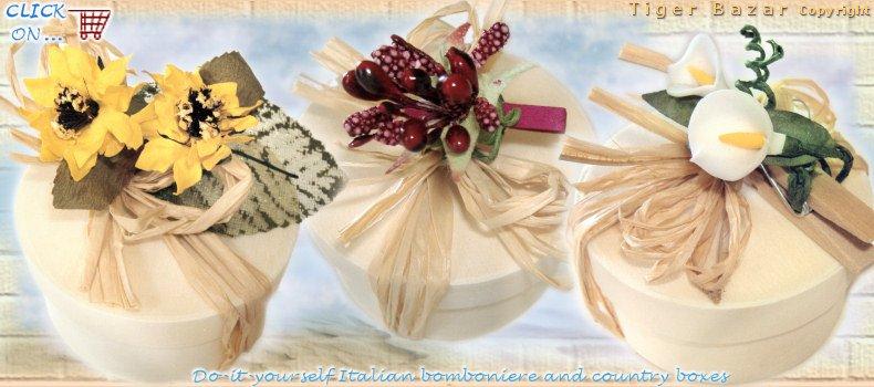 Eccezionale Bomboniere fai da te scatole country accessori roselline stoffa  YH25