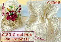 negozio sacchetti confetti riso sposi, sacchettini iuta tela rafia nastrini  per guarnizioni del sacchetto