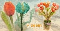creare fai da te + zoom, bouquet tulipani di perline - french beaded tulips flowers in orange