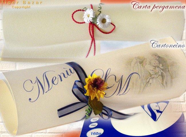 Esempi fai da te inviti nozze carta pergamena margherite cartoncino