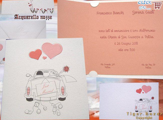 3903bc27437e3 modello biglietti partecipazioni di matrimonio carta a mano effetto paglia  stampa 3D sposi in wedding Just