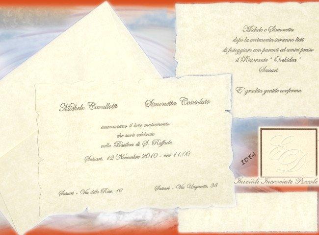 Partecipazione di matrimonio con cartoncino ad effetto marmorizzato di