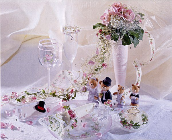 Mariage addobbi matrimonio frost decoupage roselline rosa - Decorazioni decoupage ...
