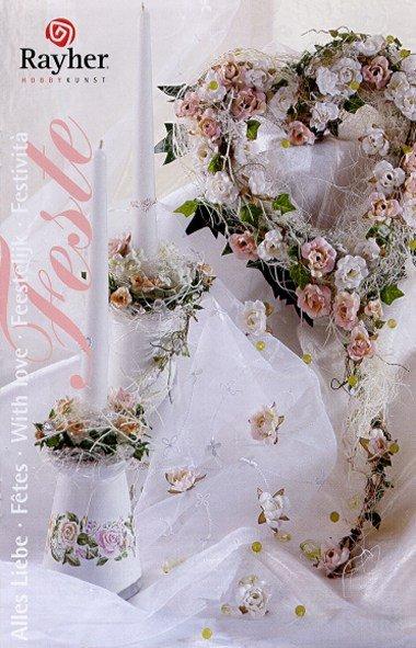 Matrimonio copertina depliant cuore di fiori portacandele - Decorazioni per cresima ...